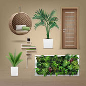 Vector set of interior furniture in eco-minimalism style isolated on light brown background
