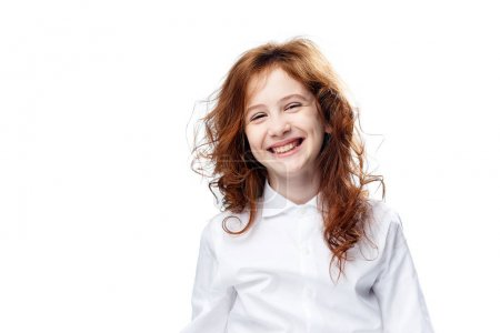 Photo for Joyful child laughing on isolated background, girl laughing. - Royalty Free Image
