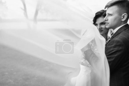 Photo for Happy young just married couple embracing at their wedding day - Royalty Free Image
