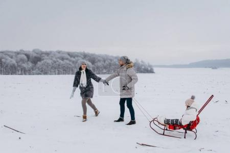 View of father sledding daughter and holding hands with mother
