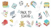 Back to school set of hand drawn vector illustrations