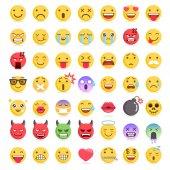 Emoji emoticons symbols icons set Vector Illustrations