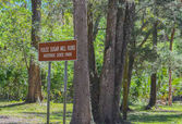 A sign for Yulee Sugar Mill Ruins Historic State Park in Homosassa Florida USA