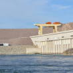 Davis Dam Hydroelectric Power Plant on the Arizona...
