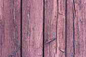 Texture of weathered wooden lining boards with peeling violet paint and rusty nail heads. Vignette.