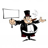 Cartoon man in a frock coat with a sign in his hand