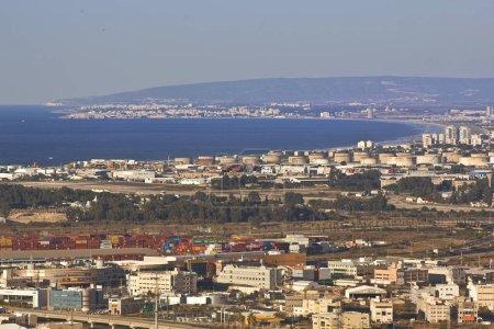 View at industrial zone of the Haifa Bay, Haifa, Israel