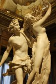 ROME, ITALY - January 25, 2018: Romantic sculptural group of Apollo and Daphne, masterpiece by famous sculptor Gian Lorenzo Bernini