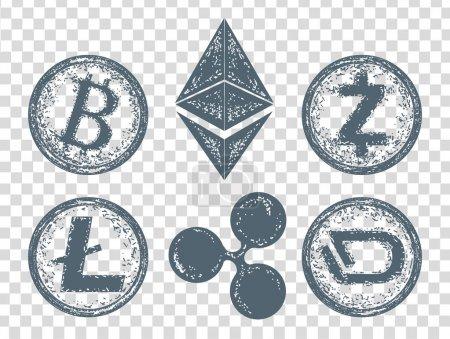 Crypto currency Bitcoin, Litecoin,  Etherium, Ripple, Dash, Zcash, DigiByte