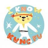 Cute bear kung fu master kids t-shirt designsticker Sport kids