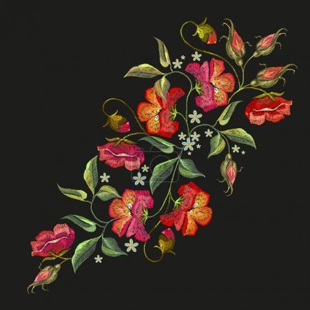 Illustration pour Broderie roses fleurs t-shirt design. Belles roses rouges broderie classique sur fond noir. Modèle pour vêtements, textiles, conception de t-shirt - image libre de droit