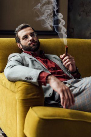 handsome bearded young man smoking cigar on sofa