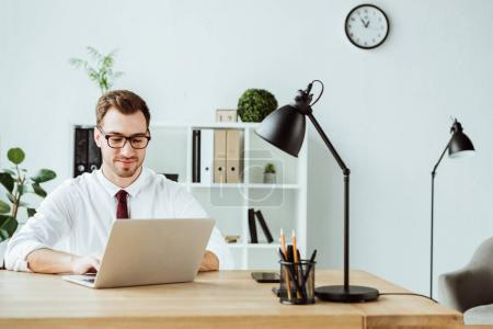handsome businessman using laptop at workspace in modern office