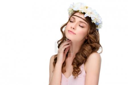 Photo for Sensual woman with curly hair in floral wreath isolated on white - Royalty Free Image