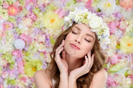 Photo for Sensual young woman in floral wreath with perfect skin - Royalty Free Image