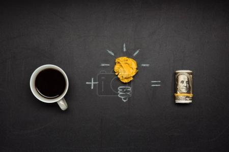 Photo for Business concept made of light bulb symbol, coffee cup and money on blackboard - Royalty Free Image
