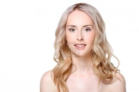 Young woman with braces