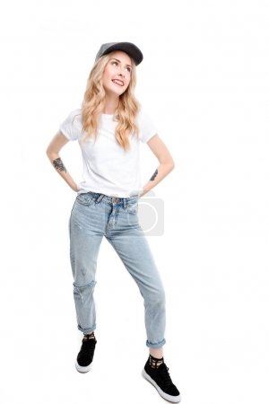 Photo for Full length shot of young caucasian woman wearing casual posing with arms akimbo. - Royalty Free Image