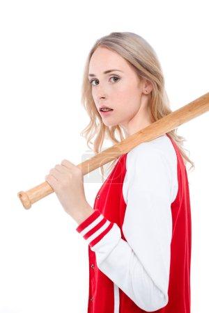 Woman holding baseball bat
