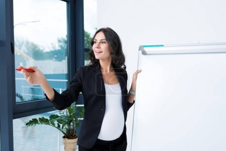 pregnant businesswoman with blank whiteboard