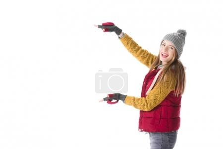 excited woman pointing at something