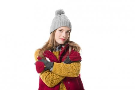 Photo pour Jeune femme en vêtements d'hiver, isolé sur blanc - image libre de droit