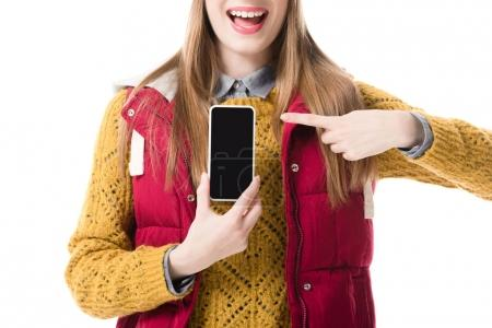 girl presenting smartphone
