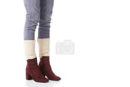 Foto de Sección baja de la chica en ropa de invierno, aislado en blanco - Imagen libre de derechos