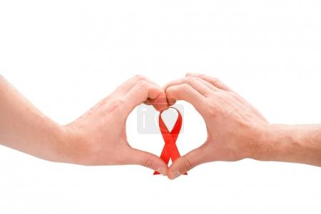 gay couple with aids ribbon