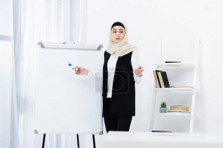 focused muslim businesswoman in hijab pointing ay white board in office