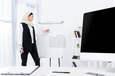 attractive businesswoman in hijab pointing at white board during meeting in office
