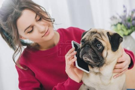 Attractive young girl giving pig a smartphone