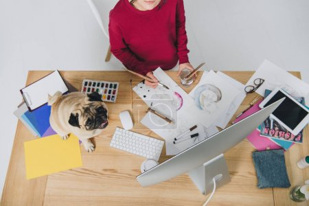 Female designer working on illustrations with cute pug on working table with computer