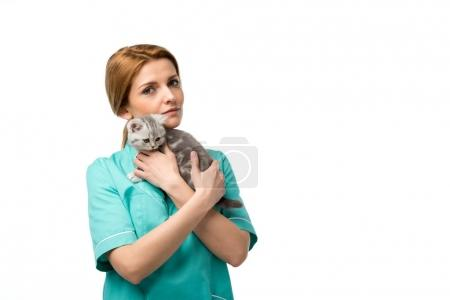 serious veterinarian holding cute little kitten and looking at camera isolated on white