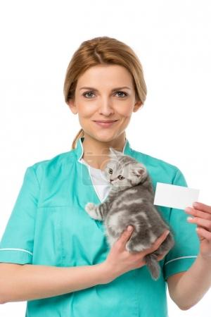 smiling veterinarian holding kitten and blank card isolated on white