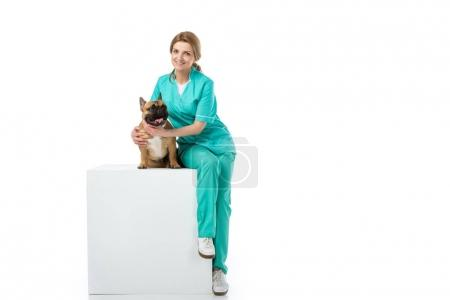 smiling veterinarian hugging french bulldog while sitting on white cube isolated on white