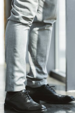 low section of businessman standing in fashionable leather shoes and pants