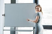 businesswoman pointing at blank whiteboard and smiling at camera
