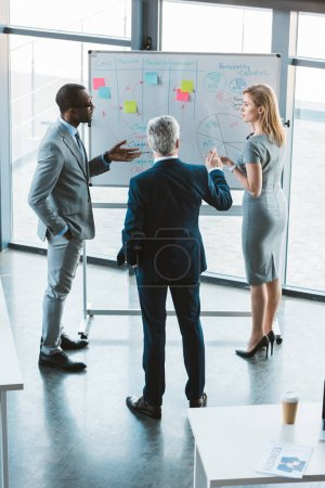 Photo for High angle view of professional multiethnic business team discussing charts and graphs on whiteboard - Royalty Free Image