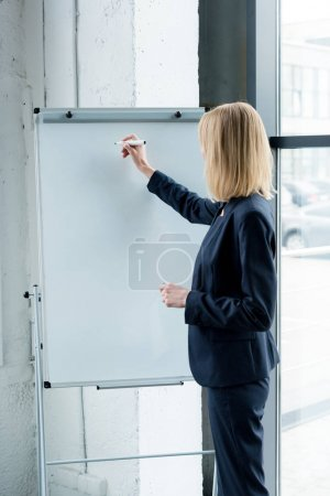 Photo for Side view of professional businesswoman writing on blank whiteboard in office - Royalty Free Image