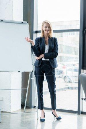beautiful smiling blonde businesswoman showing blank whiteboard in office