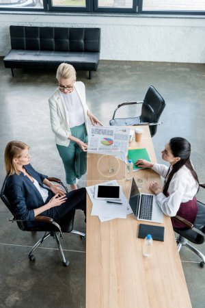 high angle view of professional businesswomen discussing project in office