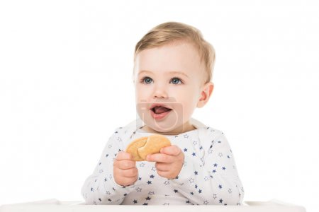 Photo for Smiling little boy with cookies sitting in highchair isolated on white background - Royalty Free Image