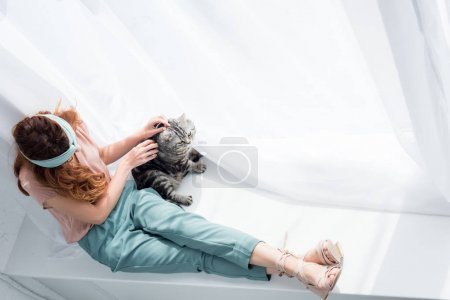 high angle view of attractive young woman petting adorable tabby cat while sitting on windowsill