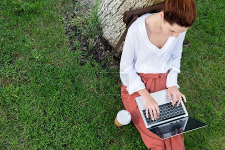 Photo for Top view of attractive young woman working with laptop while sitting on grass with paper cup of coffee - Royalty Free Image