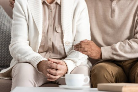 Photo for Cropped view of senior man and woman sitting on sofa - Royalty Free Image