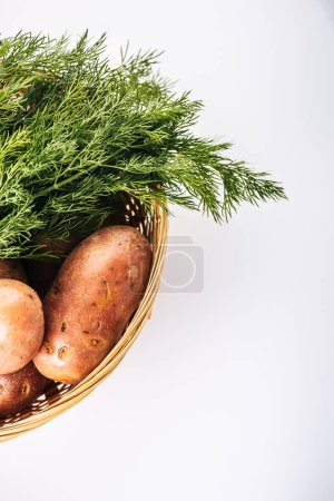 Photo for Top view of raw potatoes with fresh dill in wicker basket isolated on white - Royalty Free Image