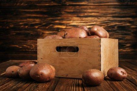 Photo pour Pommes de terre fraîches mûres en boîte et autour sur fond de bois - image libre de droit