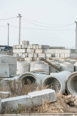Photo for Concrete blocks and building materials on construction site - Royalty Free Image