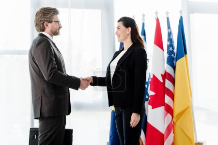 Photo pour Des diplomates joyeux serrent la main près des drapeaux à l'ambassade - image libre de droit